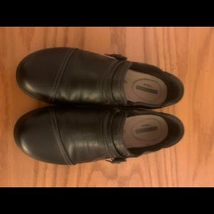 Ladies black leather slip on shoes
